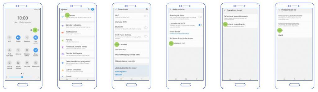 configuración android busqueda red manual