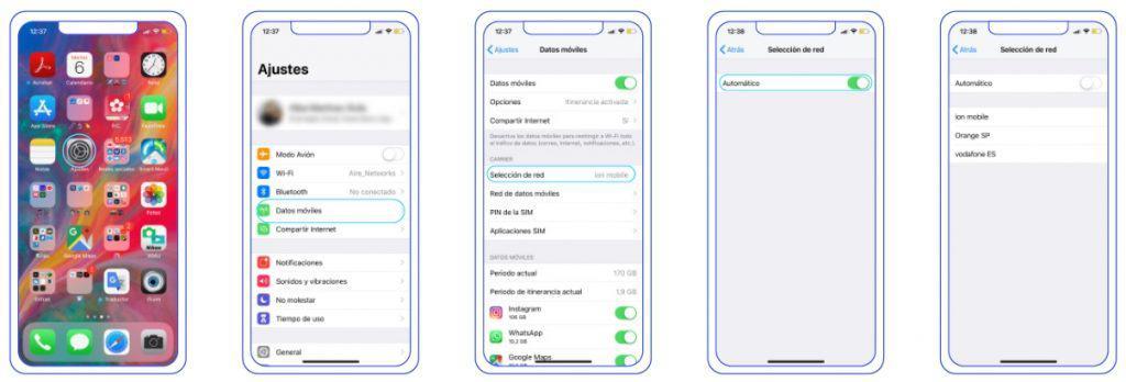 configuración iphone busqueda red manual